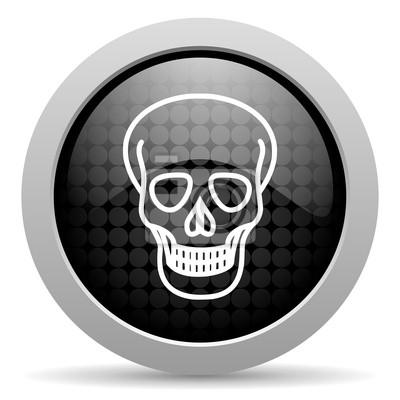 czaszka czarny błyszczący okrąg sieci web ikony