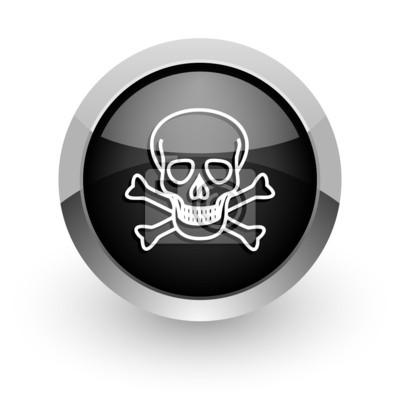 czaszka czarny chrom błyszczący ikona internetowych