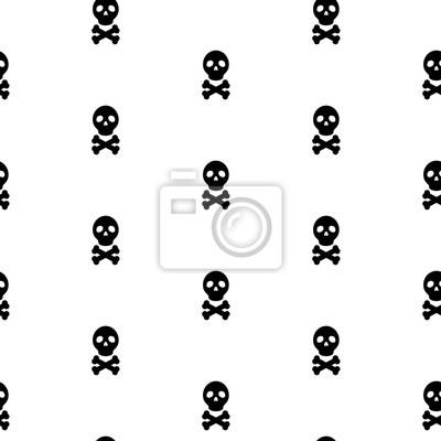 Czaszka czarny i biały ciągły wektor wzór. Czaszka i kości głowy proste szwu wzór włókienniczych.