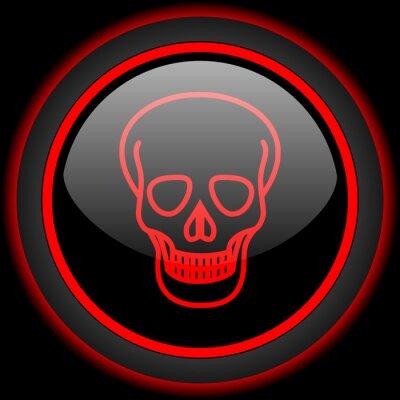 Czaszka czarny i czerwony błyszczący ikona internet na czarnym tle