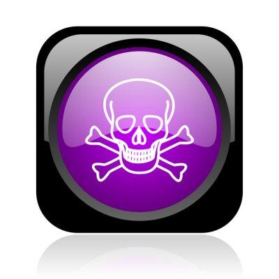 czaszka czarny i fioletowy błyszczący kwadratowych sieci web ikony