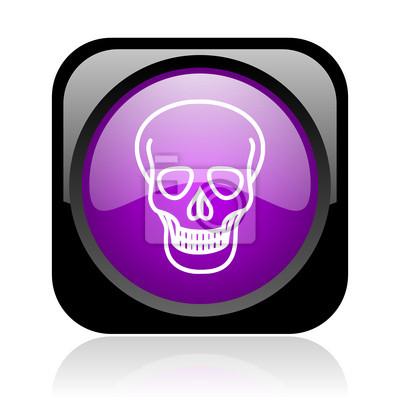 czaszka czarny i fioletowy Ikona błyszczący kwadratowych sieci web