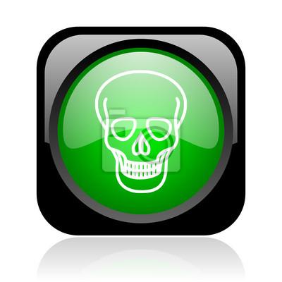 czaszka czarny i zielony kwadrat błyszczące ikony internetowych