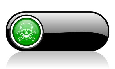 czaszka, czarny i zielony sieci web ikonę na białym tle