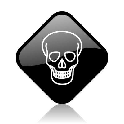 czaszka czarny kwadrat błyszczący ikona internet