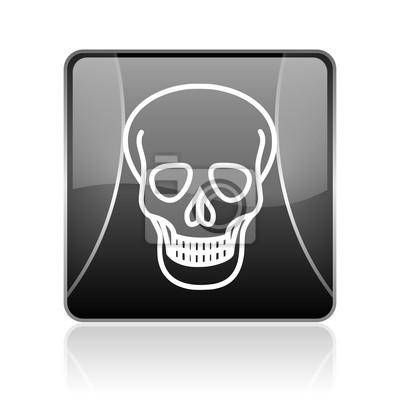 czaszka czarny kwadrat błyszczący ikonę internetowych
