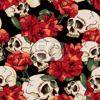 Plakat Czaszka i kwiaty Jednolite Tło
