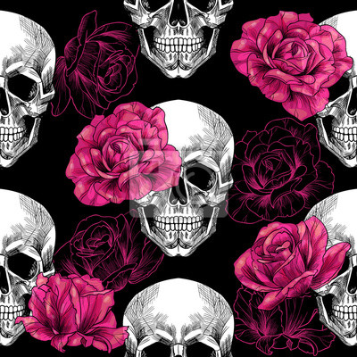 Plakat Czaszka i róże .Vector szwu wzór