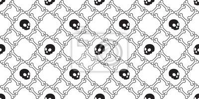 czaszka kość wzór wektor Halloween pirat płytki tło szalik na białym tle tapety powtórzyć