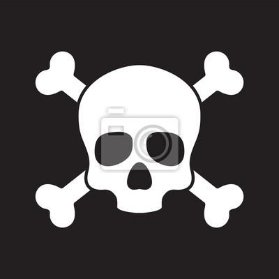Czaszka pirata ikony loga wektoru przecinającej kości Halloweenowa ilustracyjna grafika