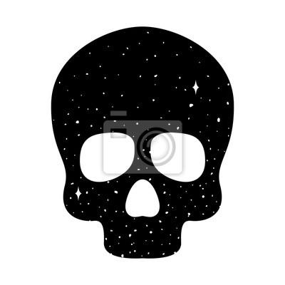 czaszka wektor logo ikona kości Halloween nocne niebo ilustracja przestrzeni