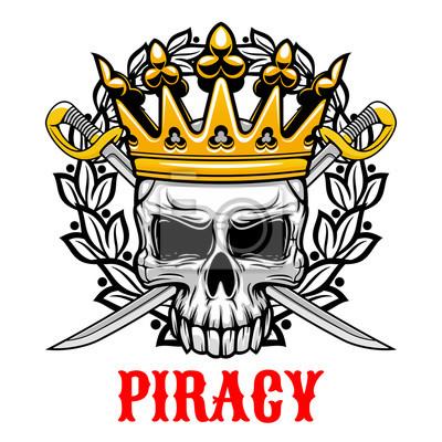 Czaszka z koroną i szable projektu piractwa