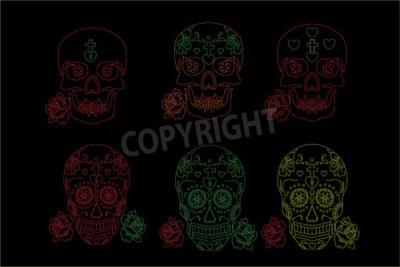 czaszki, dzień zmarłych, ikony, czarny czaszka czaszki