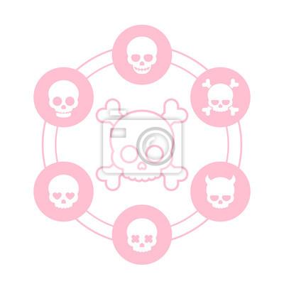 czaszki ikony w kształcie serca oczy, w miłości, uśmiechnięty, kości czaszki, diabeł, diabeł