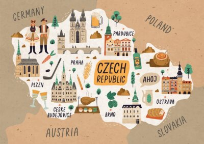 Plakat Czech Republic cultural map hand drawn illustration. European country traditional symbols. People in authentic clothing, national dishes and sightseeing spots. Famous landmarks and food drawing.
