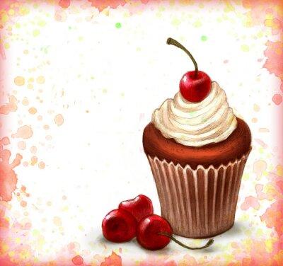 Plakat Czekolada cupcake na tle Akwarele