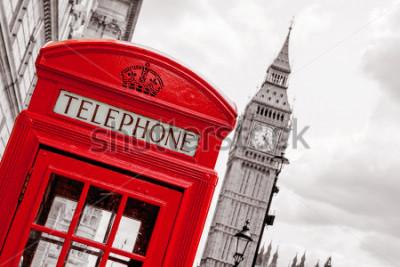Plakat Czerwona budka telefoniczna i Big Ben. Londyn, Anglia