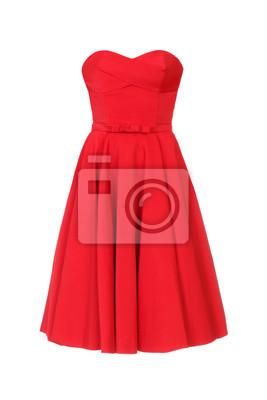 Plakat Czerwona suknia odizolowywająca na białym tle.