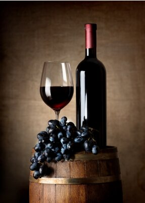 Plakat Czerwone wino z beczki i winogron