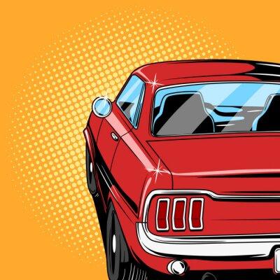 Plakat Czerwony samochód styl komiksowy wektor