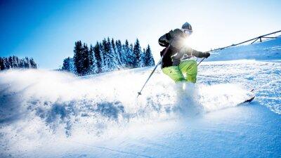 Plakat Człowiek narciarstwo zjazdowe