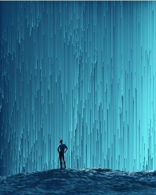 Plakat Człowiek patrząc na strumieniu cyfrowym