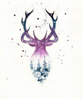 Plakat Deers christmas illustration of watercolor. Greeting card.