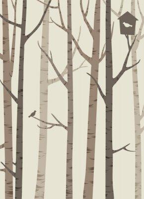 Plakat dekoracyjne sylwetki drzew z ptakiem i ptaszarni