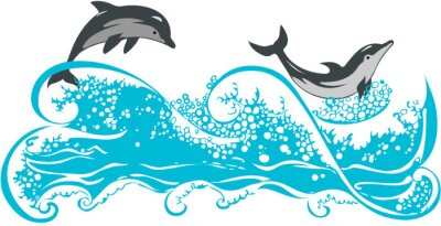 Plakat Delfiny skoków na falach