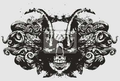 Demon czaszka z błyszczącymi oczami