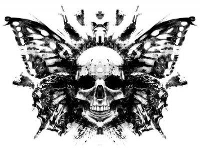 Plakat Demon czaszka z motylimi skrzydłami behind