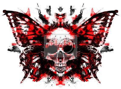 Demon czaszka z motylimi skrzydłami behind