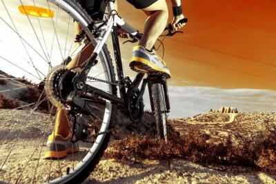 Plakat Deportes. Bicicleta de montaña y hombre.Deporte en exterior