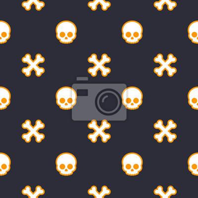 deseń z czaszki i kości, bez szwu tła halloween