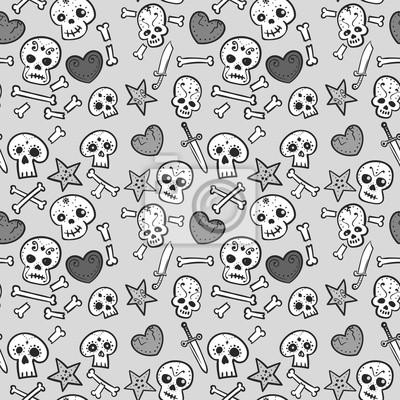 deseń z czaszki i serca, kości i sztyletów, bez szwu tła monochromatycznych