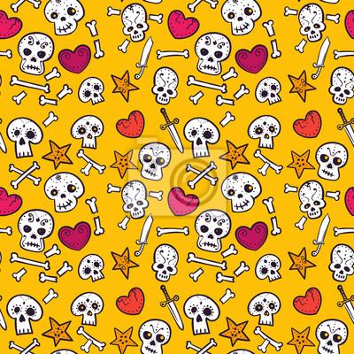 Deseń z czaszki i serca, kości i sztyletów, kolorowe bez szwu tła
