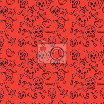 Deseń z czaszki i serca, kości i Sztylety, wektor bez szwu tła