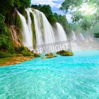 Plakat Detian or Ban Gioc waterfall along Vietnamese and Chinese board.