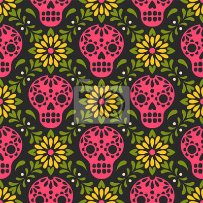Plakat Dia de los Muertos. Vector seamless pattern with Mexican sugar skulls and flowers. Isolated on black background