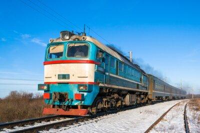 Plakat Diesel lokalnym pociągiem na Ukrainie.