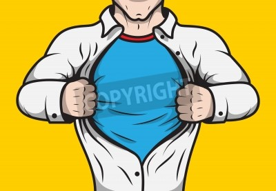 Plakat Disguised comic book hero adult man under cover opening his shirt template