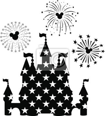 Plakat Disney Castle Fireworks, EPS 10,  disney, new year,  mickey mouse head,