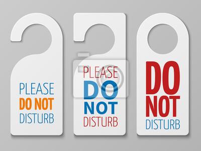 Plakat Do not disturb room vector signs. Hotel door hangers collection