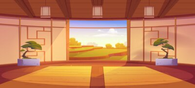 Plakat Dojo room, empty japanese style interior for meditation or martial arts workout with wooden floor, bonsai trees and open door with scenic peaceful view on asian rice field, Cartoon vector illustration