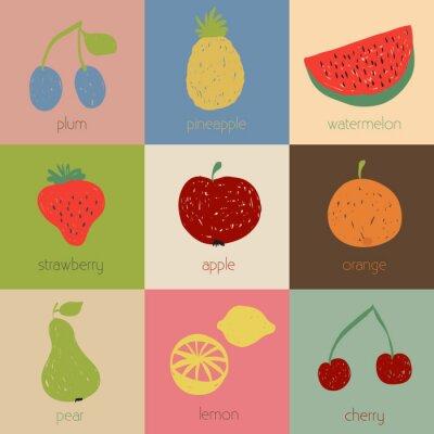 Plakat Doodle ikony owocowych w kolorach retro