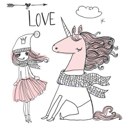 Plakat doodle księżniczka z jednorożcem