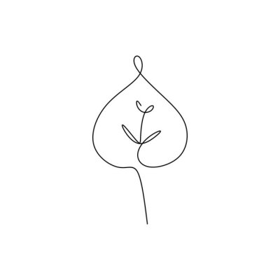 Plakat drawing continuous lines of leaves with simple lines.