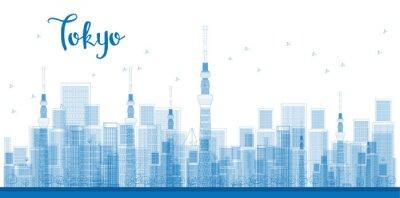 Plakat Drzewo Tokyo City Wieżowce w kolorze niebieskim.