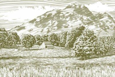 Plakat Drzeworyt styl ilustracji z farmy i stodole z góry w tle.
