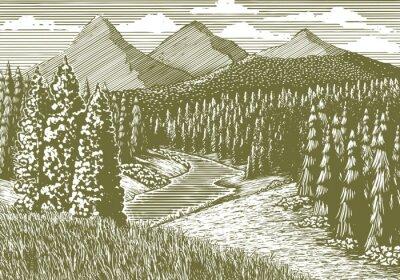 Plakat Drzeworyt stylu ilustracji górski krajobraz z strumienia poprzez uruchomienie go.